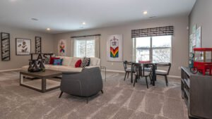 Modern Farmhouse style basement - Kensington Model
