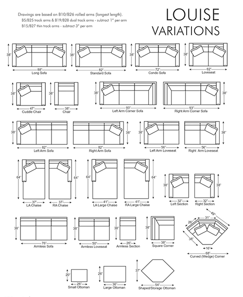 Louise Sectional Customization Options